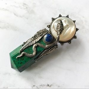 Jewelry - ::SOLD:: Vintage Turquoise Pearl Snake Pendant